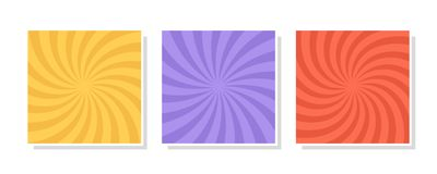 Set Of Swirl, Vortex Backgrounds. Color Rotating Spiral. Stock Photo