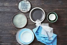 Free Set Of Tableware On   Background Royalty Free Stock Images - 108968189