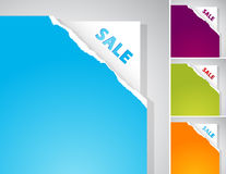 Set Of Teared Papers With Sale Sign. Royalty Free Stock Image