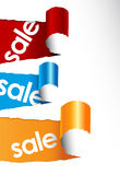 Set Of Teared Papers With Sale Signs. Royalty Free Stock Image
