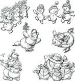 Set Of The Cheerful Cartoon Snowmen Royalty Free Stock Photography