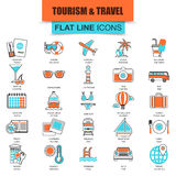 Set Of Thin Line Icons Tourism Recreation, Travel Vacation To Resort Hotel Stock Photo