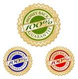 Set Of Three 100 Money Back Guarantee Emblem Seal Stock Photography