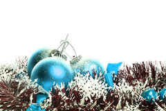 Set Of Three Blue Christmas Balls With Reflex Royalty Free Stock Image