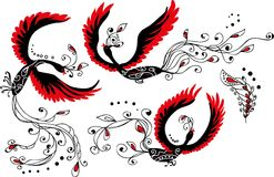 Set Of Three Heat Birds And Feather Royalty Free Stock Photo