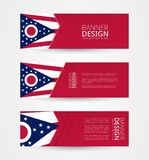 Set Of Three Horizontal Banners With US State Flag Of Ohio. Web Banner Design Template In Color Of Ohio Flag Stock Photography