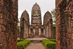 Set Of Three Pagodas Behind Wall In Sukhothai Stock Photography