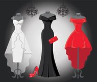 Set Of Three Party Dresses Stock Images