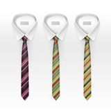 Set Of Tied Striped Colored Silk And Bow Ties Stock Photos