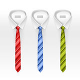 Set Of Tied Striped Colored Silk And Bow Ties Vector Stock Images