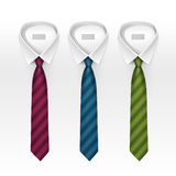 Set Of Tied Striped Colored Silk Ties And Bow Collection Stock Image