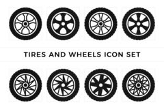 Free Set Of Tires And Wheels Icon Vector Royalty Free Stock Photos - 190806928