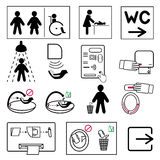Set Of Toilet And Bathroom Signs For Public Places Stock Photo
