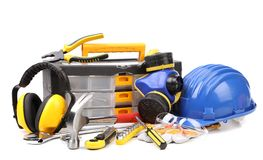 Set Of Tools And Instruments With Toolbox Royalty Free Stock Photography