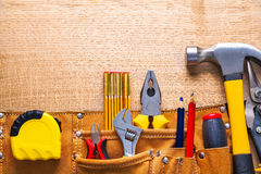 Free Set Of Tools In Toolbelt Tape Measure Nippers Royalty Free Stock Photography - 54146847