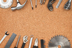 Set Of Tools On Cork Background Royalty Free Stock Photography