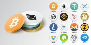 Free Set Of Top Cryptocurrency Tokens Stock Photo - 165626410