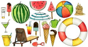 Free Set Of Travel  Hand Drawn Watercolor Elements With Umbrella, Watermelon, Ice Cream, Ball, Lifebuoy, Chaise-longue, Bucket, Cocktai Stock Image - 149678991