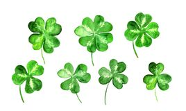 Free Set Of Trefoil, Clover Leaves With 3, 4 Four Leaf. Watercolor Collection For St Patrick Day. Celtic, Irish Symbol Of Stock Image - 207828521