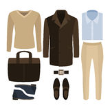 Set Of Trendy Men S Clothes. Outfit Of Man Coat, Pants, Pullove Royalty Free Stock Images