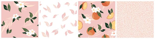 Free Set Of Tropical Seamless Pattern With Oranges  Flower  Leaf  Dots On Pink Background. Simple Trendy Fruit Repeated Background. Royalty Free Stock Photography - 208929527