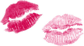 Set Of Two Vector Lipstick Kisses Stock Photography