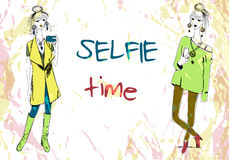 Set Of Two Young Fashion Women In Boho Style With Phone Doing Selfie. For T-shirts Print, Pillow Print, Phone Case Stock Photo