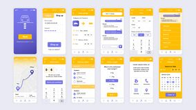 Free Set Of UI, UX, GUI Screens Delivery App Flat Design Template For Mobile Apps, Responsive Website Wireframes. Stock Photo - 184355490