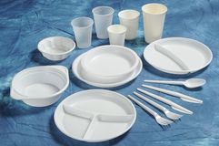 Set Of Units Of Disposable Tableware Royalty Free Stock Image