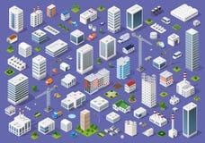 Set Of Urban Flat Buildings Royalty Free Stock Image