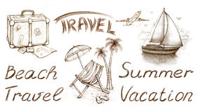 Free Set Of Vacation Illustrations Royalty Free Stock Image - 19020496