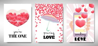 Free Set Of Valentines Day Card Template Design, 3D Red Heart Shape With Love Message, Pastel Red And Pink Theme Royalty Free Stock Photography - 166141387