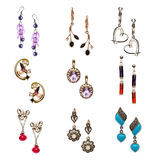 Set Of Various Earrings Isolated On White Stock Images