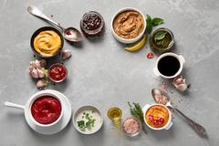 Free Set Of Various Sauces In Bowls Royalty Free Stock Photos - 190506598