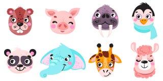 Free Set Of Vector Animals In Cartoon Style. Cute Smiley Pig, Panda, Beaver, Walrus, Penguin, Elephant, Giraffe, Llama. Cute Animal Fac Stock Image - 136785841