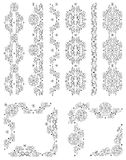 Set Of Vector Borders, Decorative Floral Elements Stock Images