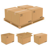 Set Of Vector Cardboard Boxes Royalty Free Stock Images