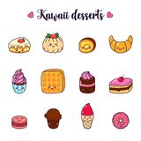 Set Of Vector Cartoon Doodle Icons Dessert, Cake, Ice Cream, Sweets Food. Illustration Of Comic Baking. Patch, Badge Royalty Free Stock Photography
