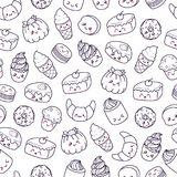 Set Of Vector Cartoon Doodle Icons Dessert, Cake, Ice Cream, Sweets Food. Illustration Of Comic Baking. Seamless Texture Stock Images