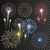 Set Of Vector Fireworks Royalty Free Stock Photos