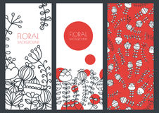 Free Set Of Vector Floral Banner Backgrounds And Seamless Pattern Stock Photography - 60431992