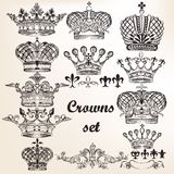 Set Of Vector Hand Drawn Crowns For Design Stock Image