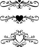Set Of Vector Heart Scrolls Stock Image