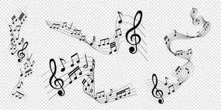 Free Set Of Vector Illustrations Of Musical Notes Melody With Clef Stock Photo - 167775230