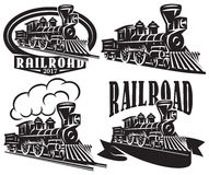 Free Set Of Vector Logo In Vintage Style With Locomotives. Emblems, Labels, Badges Or Patterns On A Retro Railroad Theme Stock Photo - 90477600