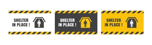Free Set Of Vector Shelter In Place Or Stay At Home Or Self Quarantine Various Background Sign With Caution Tape. To Control Stock Images - 179580334