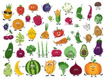 Free Set Of Vegetables, Fruits And Berries In Cartoon Style Stock Photo - 159441840