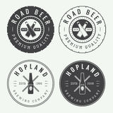 Set Of Vintage Beer And Pub Logos, Labels And Emblems With Bottles Stock Photography