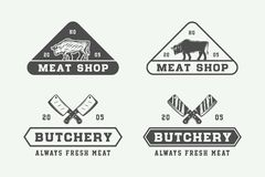 Free Set Of Vintage Butchery Meat, Steak Or Bbq Logos, Emblems, Badge Stock Photo - 111254420