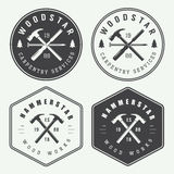 Set Of Vintage Carpentry And Mechanic Labels, Emblems And Logo Royalty Free Stock Image